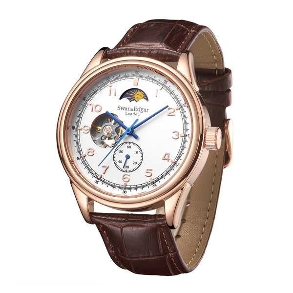 Swan & Edgar Gent's Orbiter Automatic Moon Phase Watch with Genuine Leather Strap Rose Gold