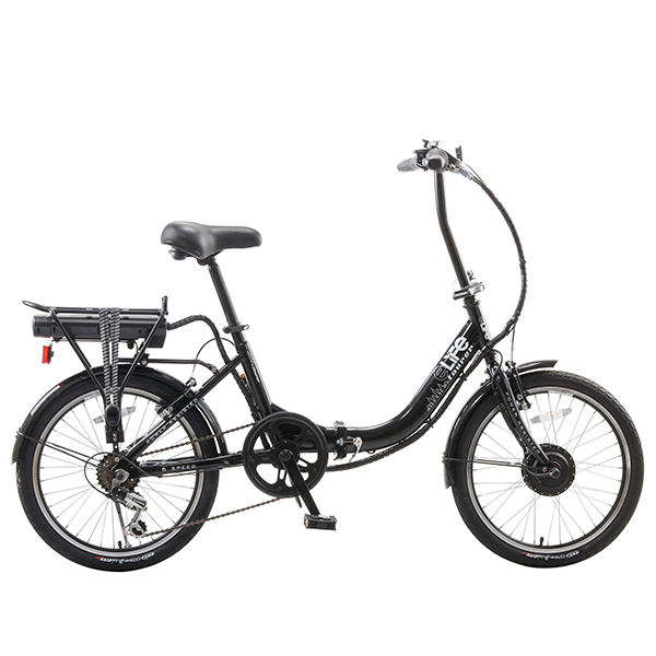 eLife Tourer 6sp 24V 250W Folding Electric Bike with 20inch Wheels Black