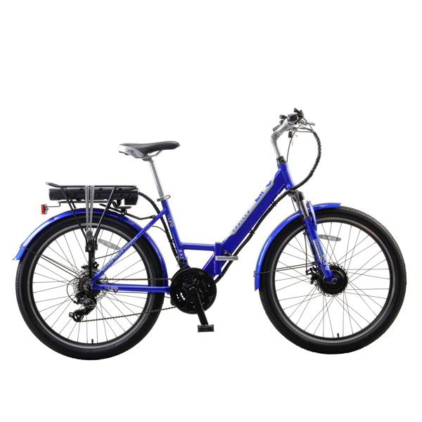 eLife Cruiser 21sp 36V 250W Full Size Folding Electric Bike with 26inch Wheel Blue