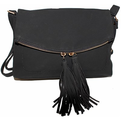 Suede Effect Tassel Bag