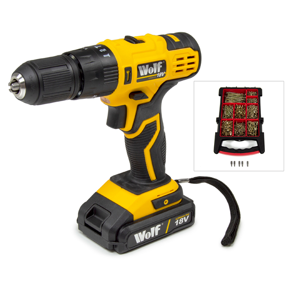 Wolf 18V Combi Drill plus ForgeFix Torx Elite Wood Screws No Colour