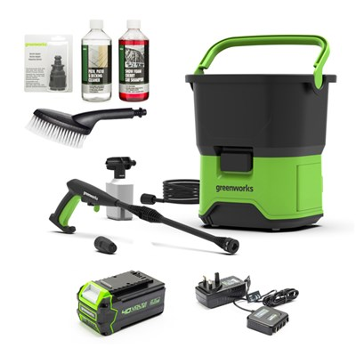 Greenworks 40v 70bar Cordless Pressure Washer inc. 4.0ah Battery and Charger + Accessory Bundle
