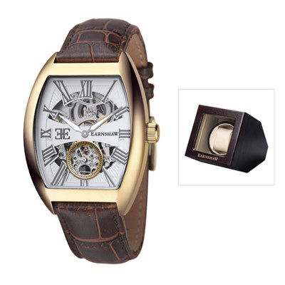 Thomas Earnshaw Gent�s Automatic Holborn Watch with Genuine Leather Strap & Luxury Watch Winder