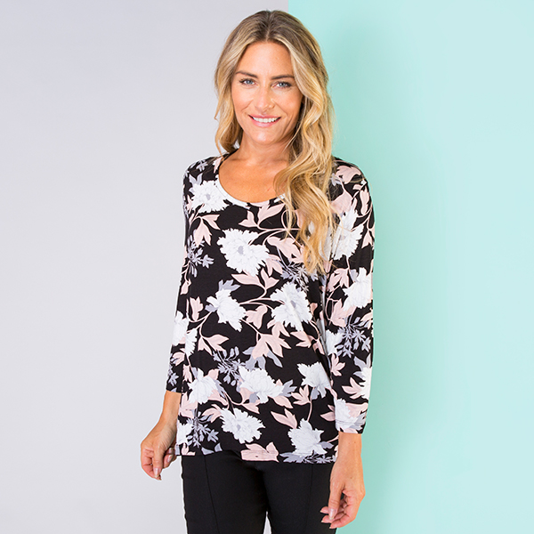 Print Scoop Neck 3/4 Sleeve Top Black