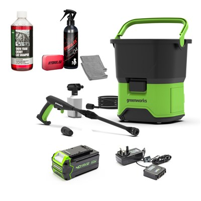 Greenworks 70bar Cordless Pressure Washer + 4Ah Battery & Charger + Hydrolex + 500ml Snow Foam