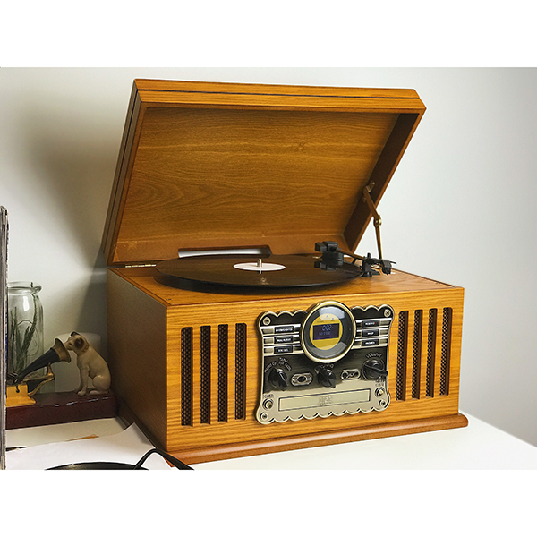 Westminster Nostalgia 3-Speed Record Player with Remote Volume Light Oak