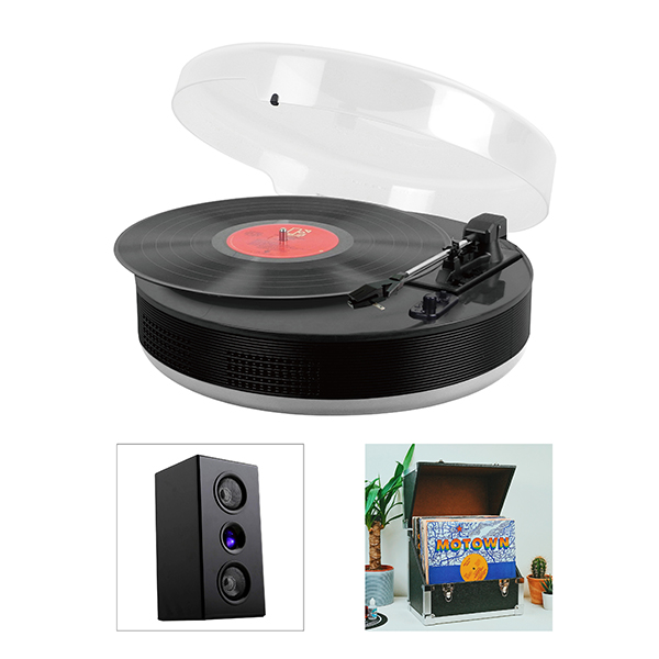 Steepletone Discgo Bluetooth Vinyl Starter Kit with Player, Bluetooth Speakers and Storage Case Black/Black
