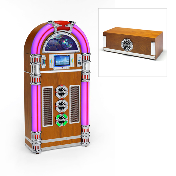 Steepletone Touch Rock 50 MW Retro Jukebox with Free Zero 50 Base Light Wood