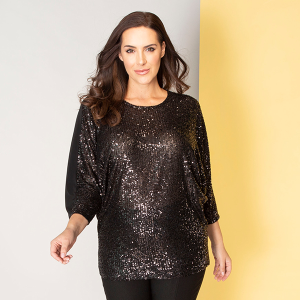 Kasara Sequin Front Batwing Top Black