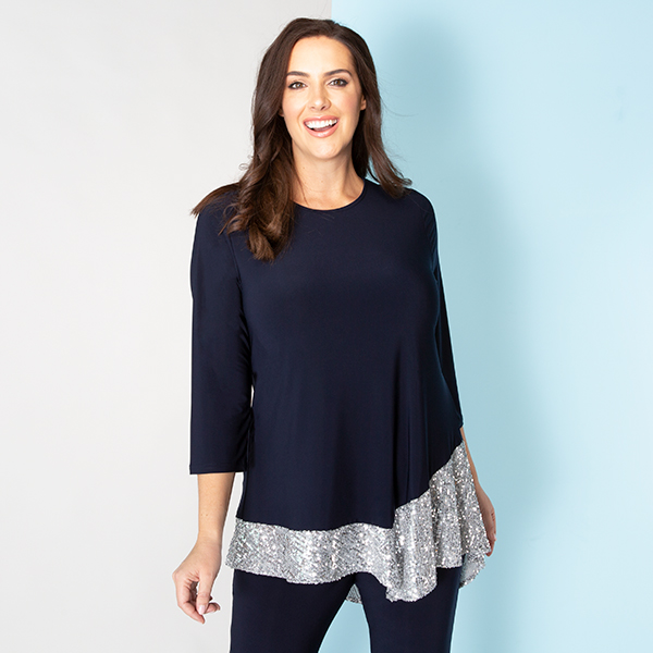 Kasara 3/4 Sleeve Sequin Trim Tunic Midnight