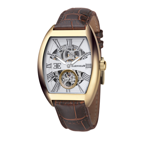 Thomas Earnshaw Gent's Automatic Holborn Watch with Genuine Leather Strap Gold