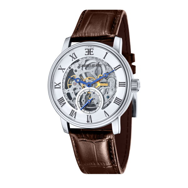 Thomas Earnshaw Gent's Westminster Automatic Watch with Genuine Leather Strap White