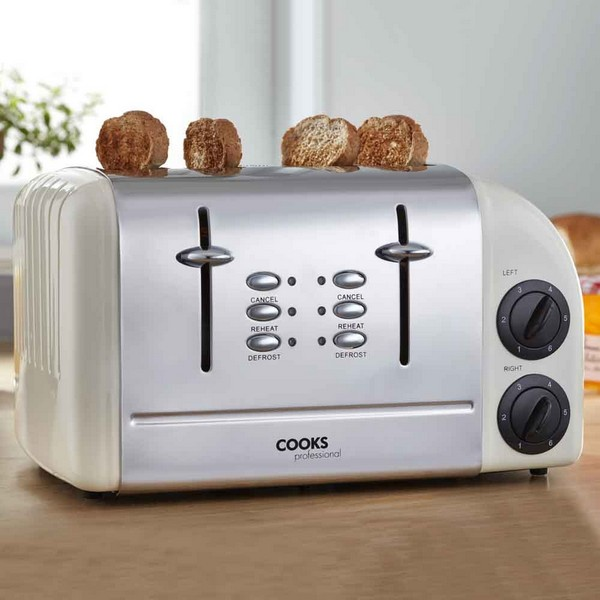 Cooks Professional G3247 Cream Four Slice Toaster No Colour