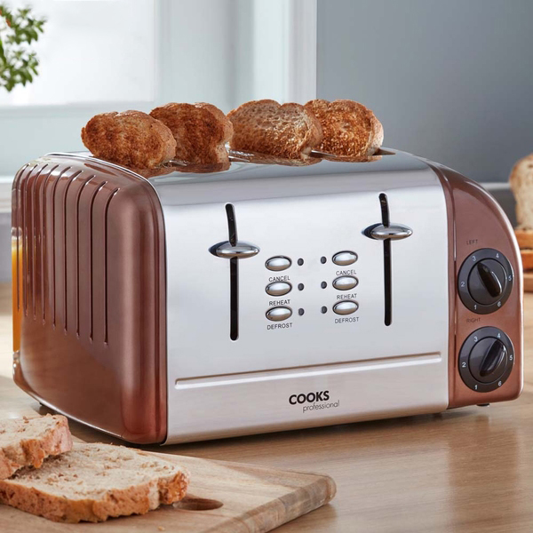 Cooks Professional 4 Slice Toaster Copper No Colour