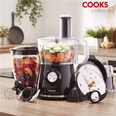 Cooks Professional Black Food Processor with Accessories