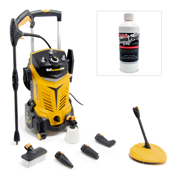 Wolf Blaster 4 x 4 Pressure Washer Bundle with FREE Snow Foam Yellow