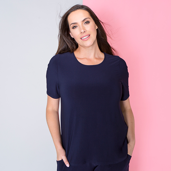 Styled By Half Sleeve Top Navy