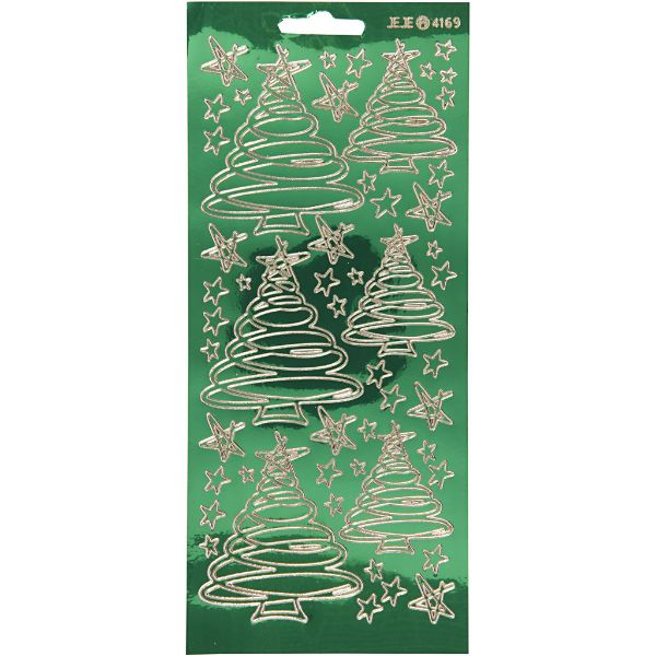 Foil Christmas Tree.Green Foil Christmas Tree Stickers
