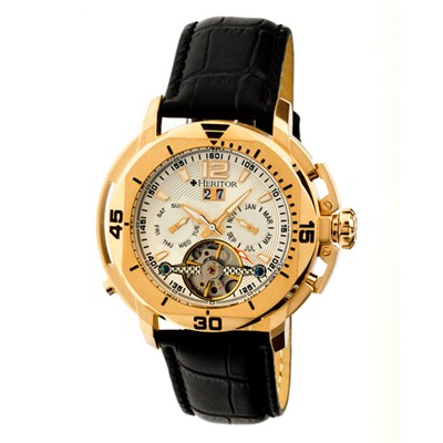 Heritor Gent�s Automatic IP Plated Lennon Open Heart Watch with Genuine Leather Strap