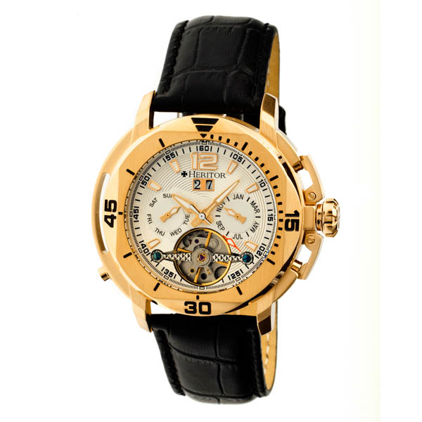 Heritor Gent's Automatic IP Plated Lennon Open Heart Watch with Genuine Leather Strap Gold