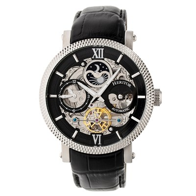 Heritor Gent's Automatic Aries Day & Night Indicator Skeleton Dial Watch with Genuine Leather Strap