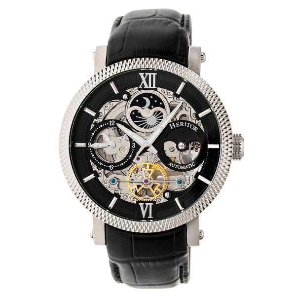 Heritor Gent's Automatic Aries Day & Night Indicator Skeleton Dial Watch with Genuine Leather Strap Black/Silver