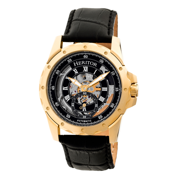 Heritor Gent's Automatic IP Plated Armstrong Skeleton Dial Watch with Genuine Leather Strap Black/Gold