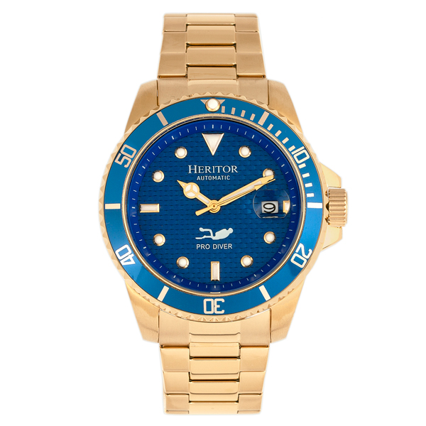 Heritor Gent's Automatic IP Plated Lucius Watch with Stainless Steel Bracelet Blue