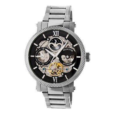 Heritor Gent's Automatic Aries Day & Night Indicator Skeleton Dial Watch with Stainless Steel Bracelet