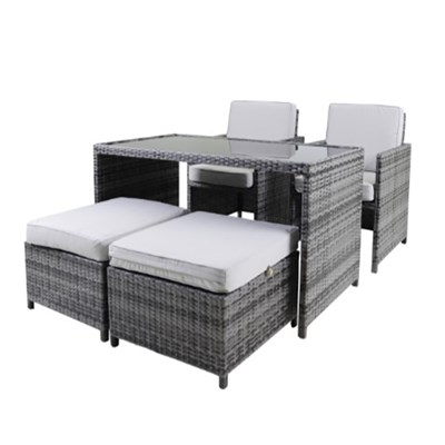 Cube 4 Seater Rattan Dining Set