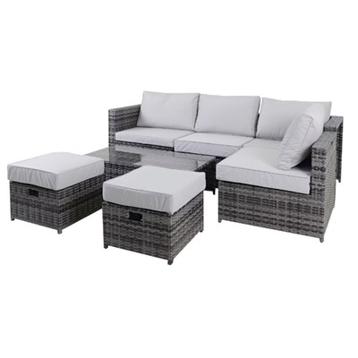 7 Piece Rattan Lounge Set with Occasional Table
