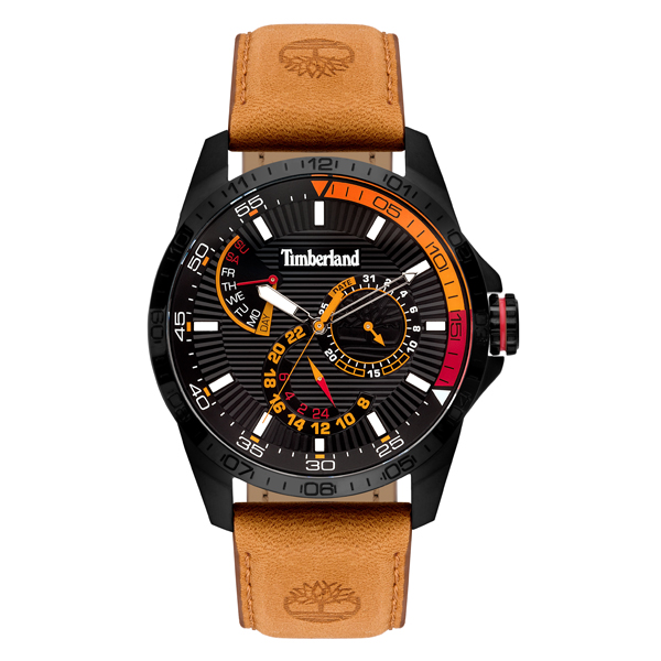 Timberland Gent's Oakham Watch with Genuine Leather Strap Black/Brown