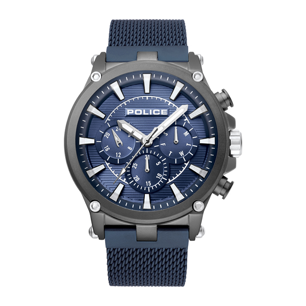 Police Gent's Taman Watch with Stainless Steel Bracelet Blue