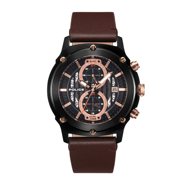 Police Gent's Lulworth Watch with Genuine Leather Strap Black/Brown
