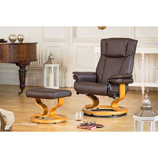 The Furniture Collection Sienna Swivel Heat and Massage Bonded Leather Recliner Chair and Stool Brown