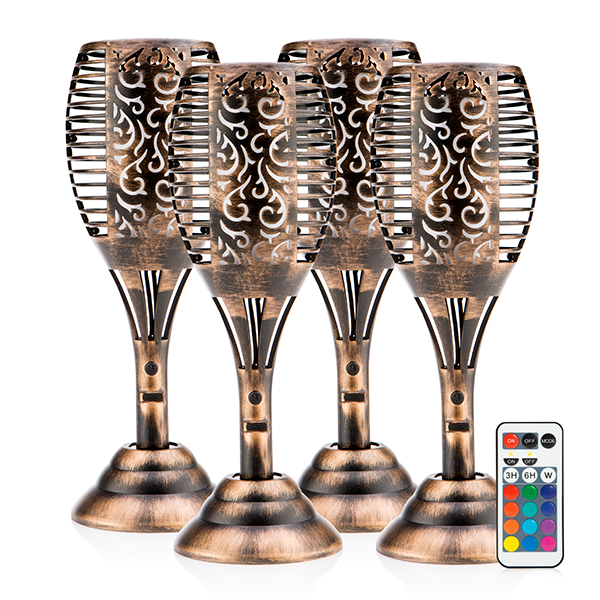 Tulip Shaped USB Multi-Colour Solar Light with Flame Effect & Remote Control (4 Pack) Bronze Effect