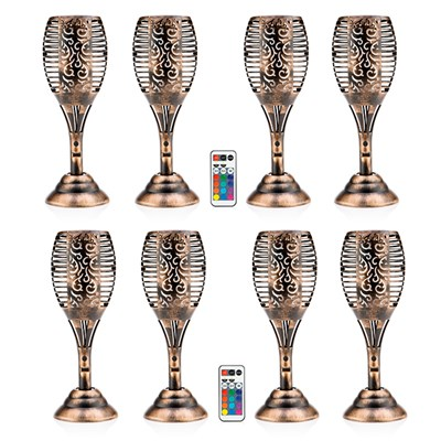 Tulip Shaped USB Multi-Colour Solar Light with Flame Effect & Remote Control (8 Pack)