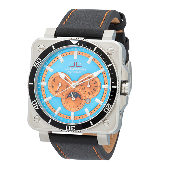 deLorean Gent's Limited Edition Automatic Watch with Genuine Leather Strap Blue
