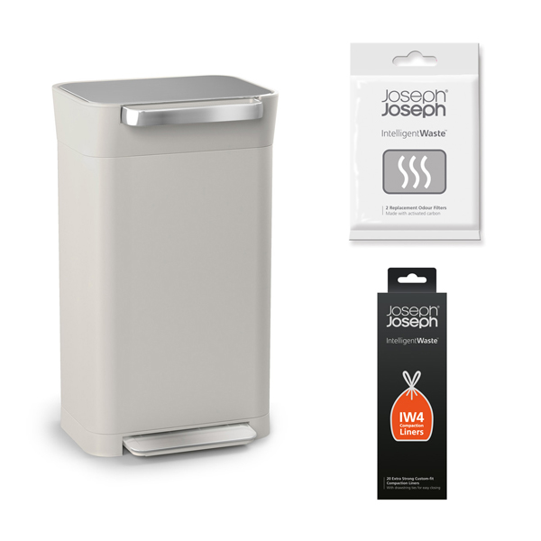 Joseph Joseph Stone Titan 30 Bin with 20 x Customer Fit Compaction Liners and Odour Filters No Colour