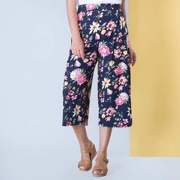 Emelia Soft-Touch Crop Trousers Navy Bloom