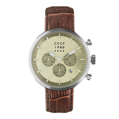 CCCP Gent's Kashalot Dress Chronograph Watch with Genuine Leather Strap