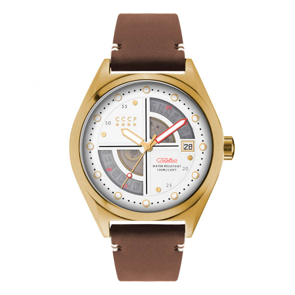 CCCP Gent's Shchuka Automatic Watch with Genuine Leather Strap White