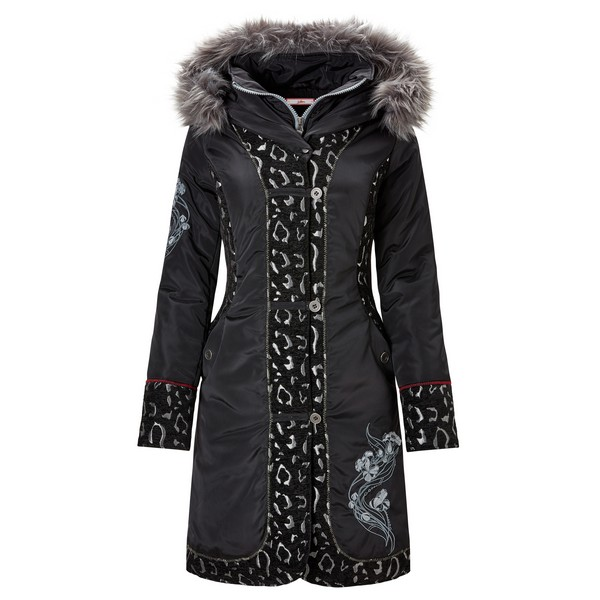 Joe Browns Animal Jacquard Parka Black
