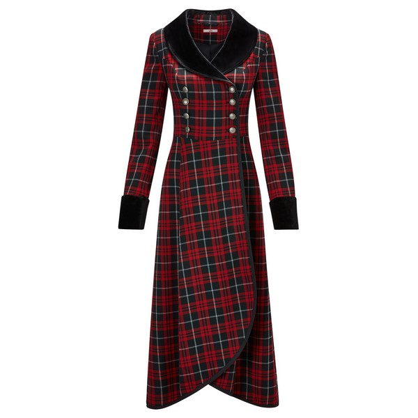 Joe Browns Fluid Check Dress Coat Red Multi