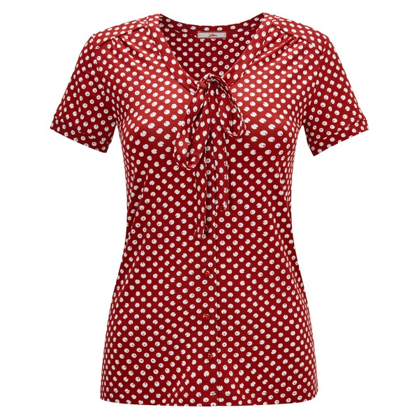Joe Browns Pussy Bow Jersey Top Red/White