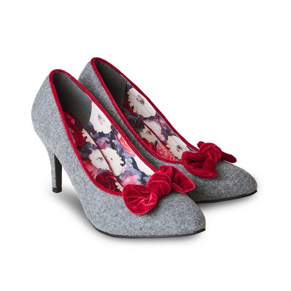 Joe Browns Rockefeller Velvet Bow Shoes Grey/Red