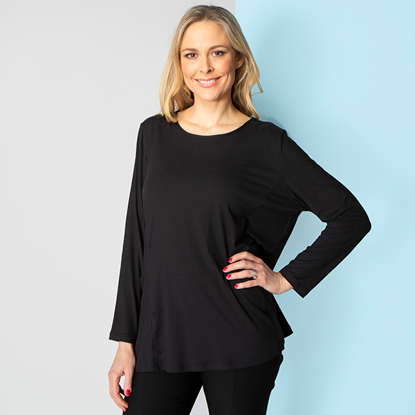Emelia Velvet Touch Pocket Top Black
