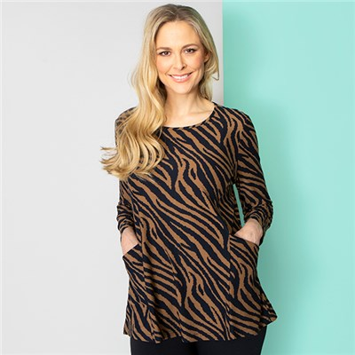 Emelia Velvet Touch Print Pocket Top
