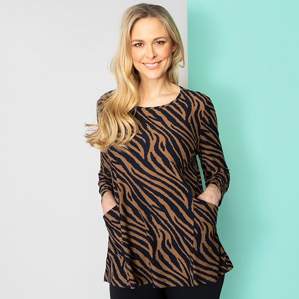Emelia Velvet Touch Print Pocket Top Animal