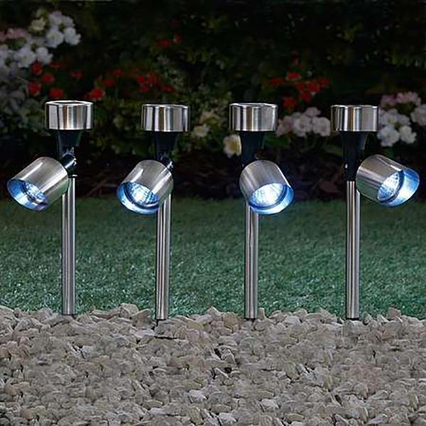 Garden Gear Stainless Steel Solar Spotlight - 4 Pack No Colour
